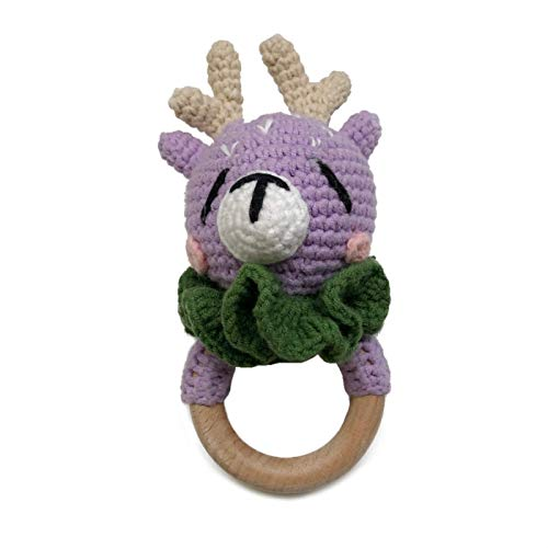 Crochet Wooden Ring Baby Teether Animal Rattle Chewing Teething Nursing Soother Molar Infant Toy Accessories