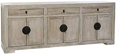 DRW Buffet avec 6 Portes et 3 tiroirs en Bois de pin et métal en Marron décapé et Noir 220 x 45 x 86 cm