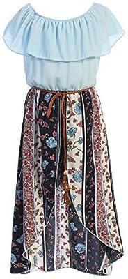 Big Girls 2 Ways Ruffle Hi Lo Maxi Skirt Romper Belt Jumpsuit Butterfly Romper USA Off White 10 (2J1K73S)