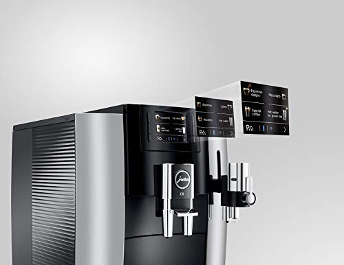 JURA E8 Chrome Automatic Coffee Machine 2 The new Jura E line is revolutionizing the enjoyment of coffee in every aspect. The espresso brewing process has been perfected. The Pulse Extraction Process is the only process of its kind in the world. It optimizes the extraction time and guarantees the very best aroma even for short specialty coffees. CLEARYL Smart provides water of perfect quality for the best possible flavor. Filter usage has never been easier because the Intelligent Water System automatically detects filter presence.
