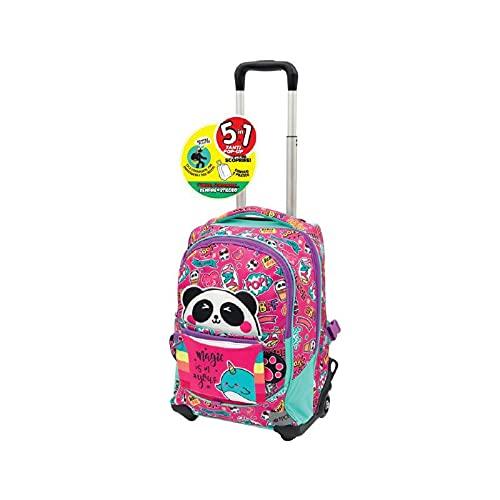 Giochi Preziosi GoPop 21 Panda Magic Zaino Trolley 2 ruote con Schienale e Spallacci Imbottiti e Copriruote, GG9H0400