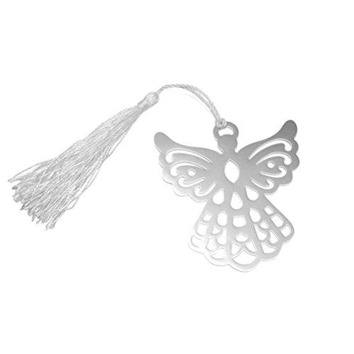 WINOMO Silber Metall Engel Lesezeichen Hochzeit Party Favors mit weißer Seide Tassel 6 Stk