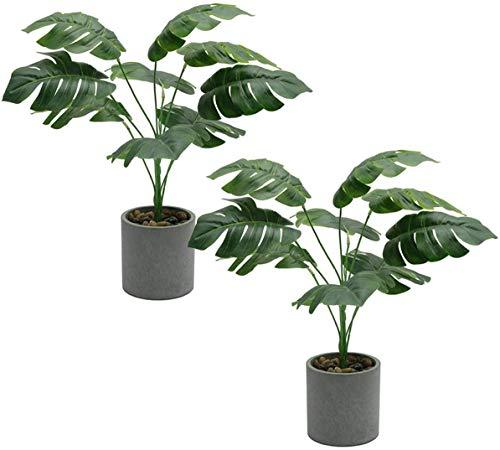SHACOS 2 Stück Zimmerpflanze Monstera Blätter Tropische Pflanzen Grün Künstliche Kunstpflanzen Innenbereich Dekopflanze Groß für Fensterdeko,Garden,Büro,usw.