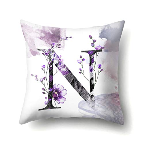 Mmoxi 26 Letters Solid Color Pattern Pillow Case Sofa Car Cushion Cover Throw Pillow Home Decoration Bedroom, Indoor or Outdoor Cushion Cover 45 x 45cm