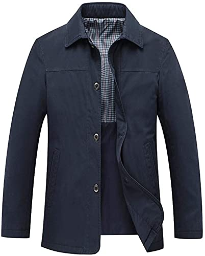 Men's Casual Relaxed-Fit Lapel Button Front Lightweight Cotton Jacket