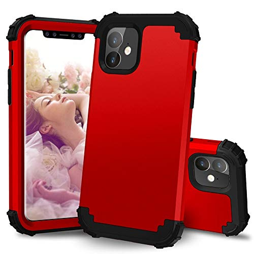MyCase for iPhone 11 (6.1 Inch) 3-in-1 PC+TPU Heavy Duty Hybrid Armor High Impact Shockproof Protective Case (Color : Red+Black)