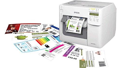 Epson TM-C3500, USB, Ethernet, Farb-Etikettendrucker, Tintenstrahldrucker (mehrfarbig), Medienbreite (max): 112mm, Druckbreite (max.): 104mm, Geschwindigkeit (max.): 103mm/Sek., Lieferumfang: Drucker inklusive Cutter, Display, inklusive Kabel (USB), Netzteil, Software (Label Design Software), Tintenpatrone