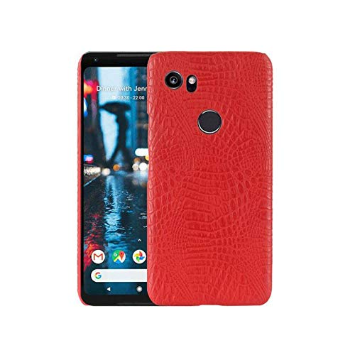 Best Shopper - Google Pixel 2 XL Crocodile Grain Hard PC+PU Leather Surface Back Cover Case - Red