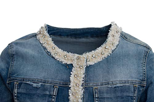 JOPHY & CO. Giacca Jeans Denim Donna Corta con Nastro Decorativo di Perle e Brillanti su Rifiniture (cod. JC050) (s)