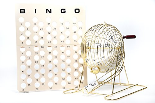 Regal Games Large Brass Professional Bingo Cage Set with Masterboard and White Ping Pong Balls