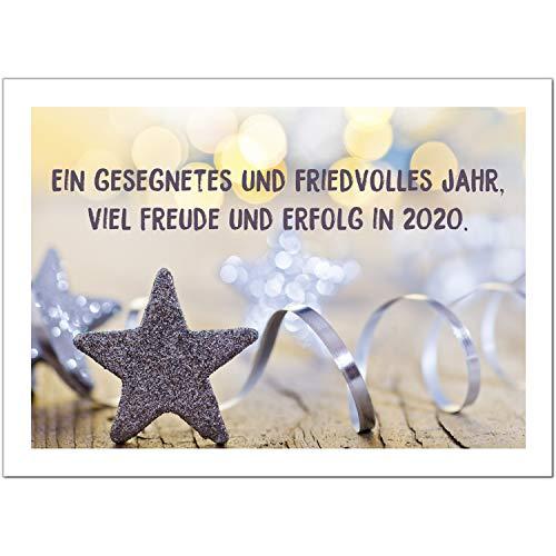 15 x Neujahrs-Karten (Moderner Gruß zum neuen Jahr) im Postkarten Format mit Umschlag/Weihnachten/Sylvester / 2020 / Neues Jahr/Silvester