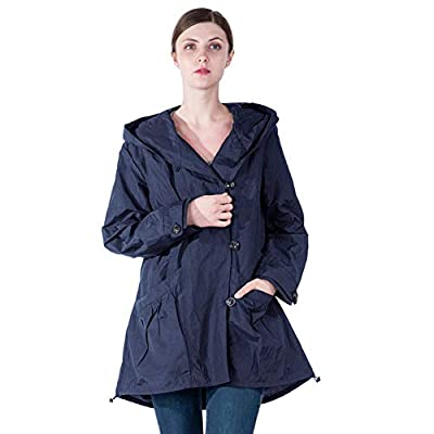Infron IN FRONT Women Plus Size Jacket Water-repellent Raincoat Elegant Hooded Single-Breasted Anorak Coat Spring/Fall Lightweight Windbreaker