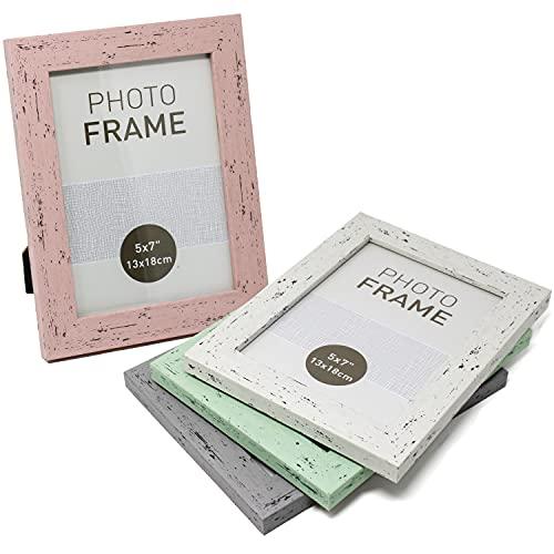 Selldorado® Set di 4 cornici portafoto 13 x 18 cm in legno color menta, rosa, bianco, grigio -...