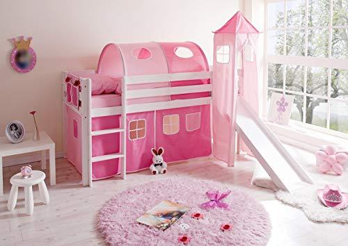 Hochbett mit Rutsche und Turm Spielbett Kasper Kiefer massiv Weiss mit Farbauswahl, Vorhangstoff:Rosa Pink 3 teilig