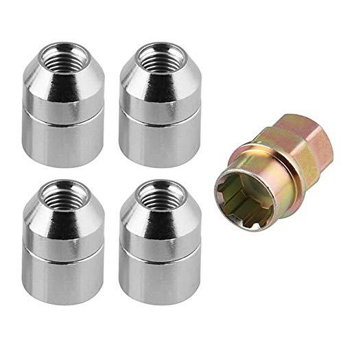LEIWOOR Universal M12 x 1,5 Radsicherungsmuttern, 4 Anti-Diebstahl-Sicherungsmuttern + 1 Schlüssel-Set, Universal, 4 x Innengewinde, 1 x Diebstahlschutzmutter.