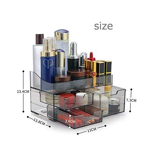 SZTulip化粧品収納ボックス透明アクリル大容量収納ケース化粧道具小物入れメイクケースコスメボックス口紅収納スタンド防水引き出し付き化粧品入れ(ホワイト)