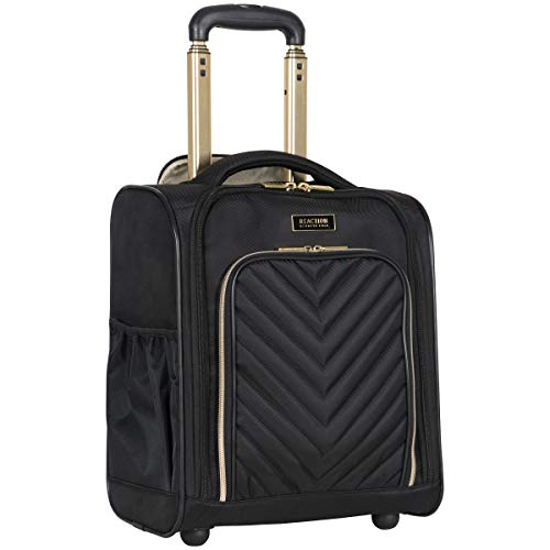 Kenneth Cole Reaction Women's  Chelsea 16' Lightweight Polyester-Twill Chevron Quilted 2-Wheel Underseater Carry-On Suitcase, Black