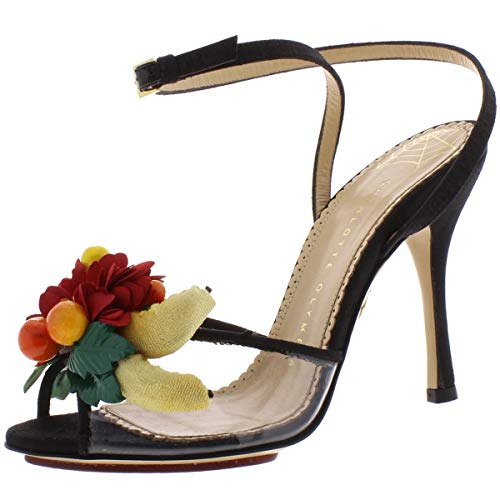 charlotte olympia Womens Tropicana Floral Dress Sandals Black 35.5 Medium (B,M)