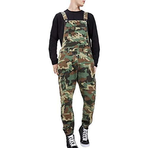 YANGPP Herren Ripped Jeans Overalls Hi Street Distressed Denim Latzhose Für Herren Jeans Hosenträgerhose, Camouflage, XL