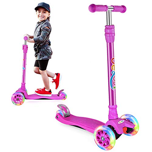 Beleev Kick Scooter for Kids, 3 Wheel Scooter for Toddlers Girls Boys, Adjustable Height, Lean to Steer, Light up Wheels for Children (Dark Lilac)