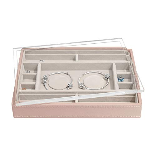 Stackers Blush Pink Classic Medium Jewellery Box 2 Padded Charm Layer with Acrylic Display Lid