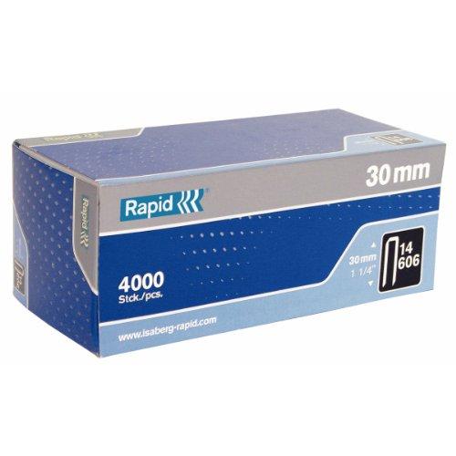 Rapid, 40109380, Agrafes N°606, Longueur 30mm, 4000 pièces, Pour charpenterie et matériaux résistants, Fil galvanisé enduit de résine, Haute performance