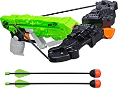 Fires arrows Real crossbow action Arrow storage Includes crossbow, bow arms, 2 arrows, and instructions Ages 8 and up