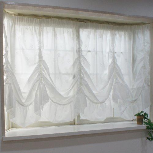 出窓用カーテン スタイルレース チェルシー バルーン型135cm丈・腰窓サイズ 幅300×丈135[最長部] Z3K CSZ