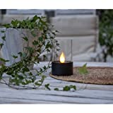 Kamaca LED SOLAR WINDLICHT Laterne Gartenleuchte mit 1 Amber LED Solarleuchte mit LED Kerze flackernd (Schwarz)