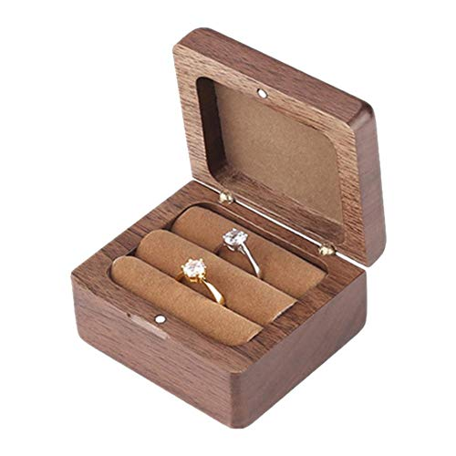 presentimer Mr & Mrs - Caja para Anillos de Compromiso, Caja de Madera para Anillos de Matrimonio, Caja de joyería Decorativa, Caja rústica Decorativa