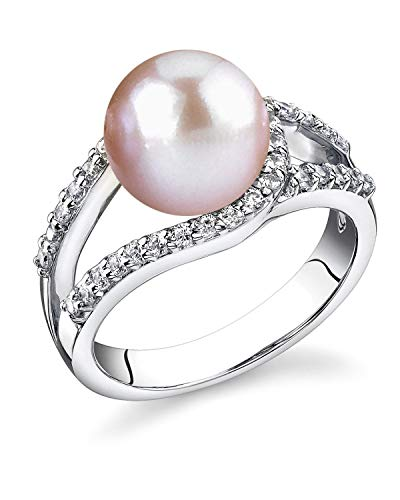 Freshwater Cultured Pearl Ring for Women, Tessa Ring in Pink with Sterling Silver and Crystals - THE PEARL SOURCE