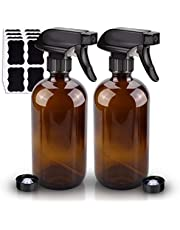 2 Pack Glass Spray Bottle, Wedama Amber 16oz Glass Spray Bottle Set & Accessories for Aromatherapy Facial hydration Watering Flowers Hair Care