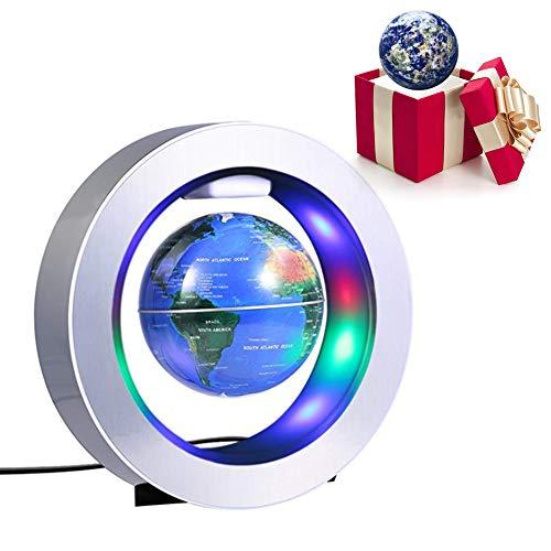 4 Inch Globo Flotante de Levitación Magnética, Globo de Antigravedad O - Forma, Mapa de Mundial Rotativo Con LED, Para Decoración de Hogar y Oficina y Regalo de Creativo y Educacion de Geografia