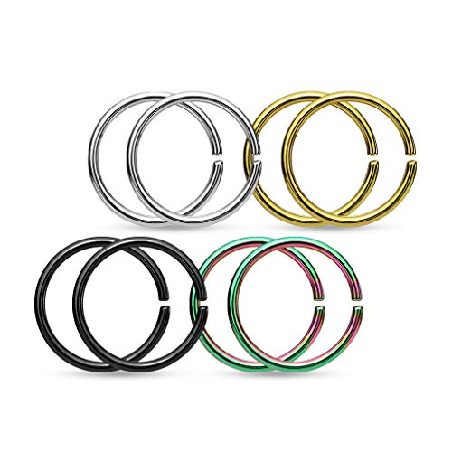 Gekko Body Jewellery 4 Pairs of Piercing Rings Hoops Ear Nose Septum...