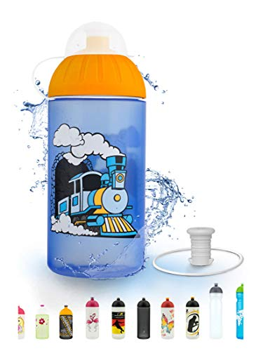 FreeWater Trinkflasche, 500 ml, Dampflok: schadstofffrei, spülmaschinengeeignet, auslaufsicher, langlebig