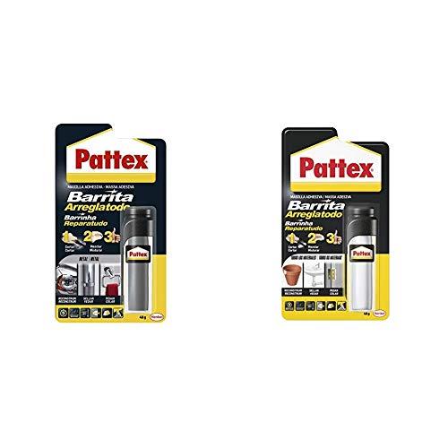Pattex Barrita arreglatodo, masilla adhesiva para sellar, pegar, metal, 48gr + Barrita Arreglatodo Masilla bicomponente extrafuerte, pasta moldeable para pegar y reparar