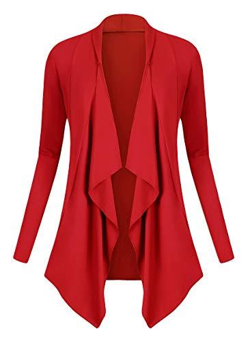Urban GoCo Donna Cardigan Drappeggiato Aperto Davanti a Maniche Lunghe e Orlo Irregolare Giacca Top (Medium, Rosso)