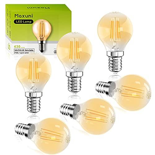 Maxuni E14 Bombilla LED, Bombilla Vintage G45 / P45 Mini Globo, 4W Equivalente a 40W, 430Lm Luz blanca cálida 2700K, Bajo consumo, Ahorro de energía, Paquete de 6[Clase de eficiencia energética A+]