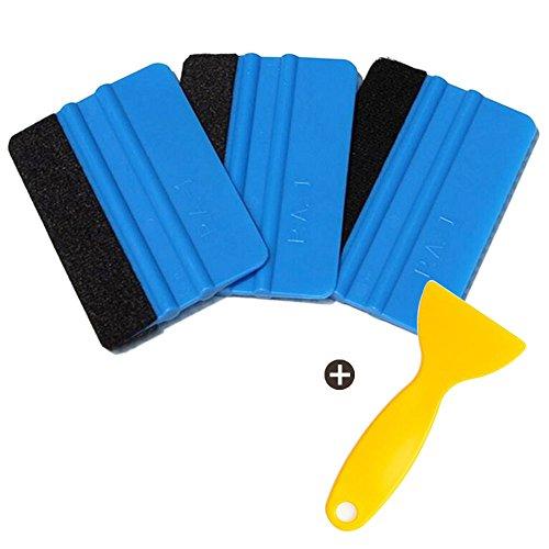 Amacoam Wildlederrakel Premium 4-delige rakel set, auto schraper, auto folie kleine schraper gereedschappen/plakstrip voor blazen, raamfolie lakbeschermingsfolie en muurtattoos
