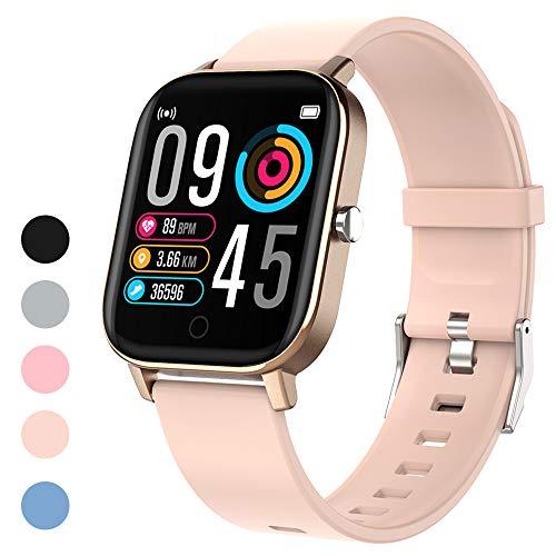 Polywell Fitness Armbanduhr mit Herzfrequenz, Fitness Tracker, Bluetooth Sportuhr Aktivitätstracker Schrittzähler, Schlaf Monitor, Kalorienzähler (Hellrosa)