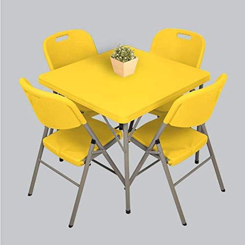 LWW Mesas, Silla plegable 5Pc juego de comedor Habitación Cocina Juegos multiuso interior al aire libre,Amarillo
