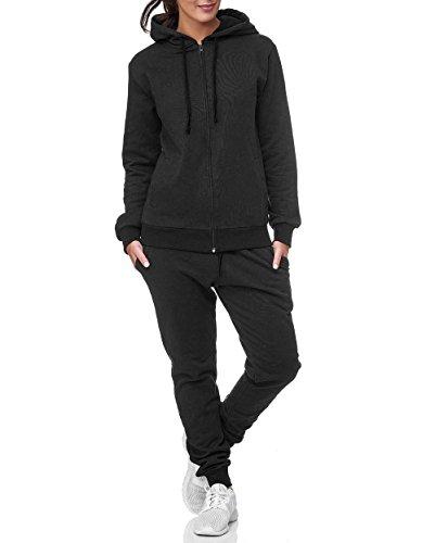 Uni Colour Damen Jogging Anzug Jacke Sport Hose Fitness Hoodie Hose Einfarbig (M, Schwarz)
