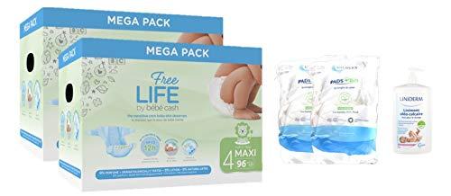 Pack hygiene Couches bébés Freelife 2X96 Taille 4 (7 à 18kgs) pour 6 semaines - 1L liniment Gilbert - 2x Pads Bio Gilbert = 360pcs
