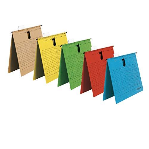 Original Falken 5er Pack Hängehefter UniReg. Made in Germany. Kaufmännische Heftung, aus Recycling-Karton DIN A4 farbig sortiert Blauer Engel ideal für die lose Blatt-Ablage im Büro und der Behörde