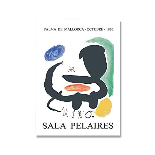 zkpzk Joan Miro Affischer Vintage Utställning Museum Tryck Spansk Fransk Väggkonst Canvas Målning Bilder för Vardagsrum Heminredning - 40 x 60 cm x 1 Ingen ram