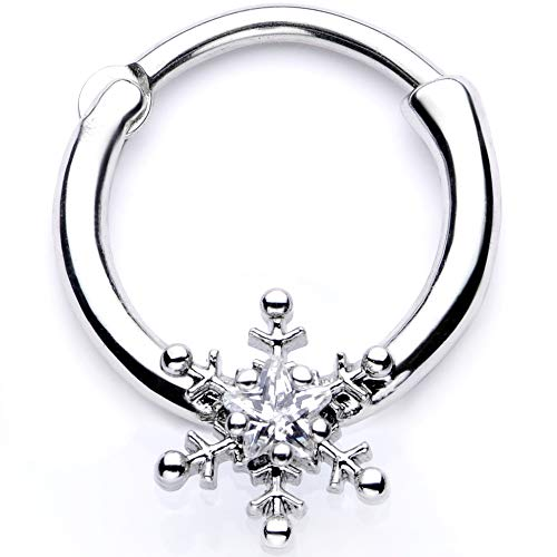 """Body Candy Womens 16G Steel Septum Clear Winter Snowflake Daith Tragus Nose Ring Cartilage Clicker 3/8"""""""