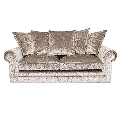 HHI - Mink Crushed Velvet Corner 3 Seater Sofa set For Living Room - Cheap Corner sofas - Corner Sofas For sale UK Main Land