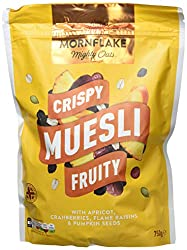 With apricot, cranberries, flame raisins and pumpkin seeds Naturally high in fibre No nuts! No added salt Contains wholegrain