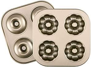 Lpraer 2 Pack Donut Baking Pans 4-Cavity Non-stick Carbon Steel Doughnut Cake Mold 2 Pattern Donut Baking Tray Bagels Mold for Oven Baking Air Fryer
