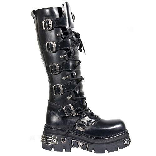 New Rock 272-S1 - Botas altas negras de piel con cremallera, hebillas y detalles metálicos de estilo gótico, unisex, color Negro, talla 38 EU